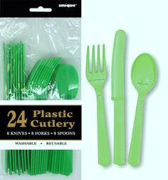 Green Plastic Cutlery | TMNT Birthday Party | Plastic Reusable Cutlery