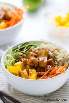 Teriyaki Quinoa Bowls with crispy baked tofu & spiralized veggies ; Asian ; zucchini ; carrot ; healthy ; vegan