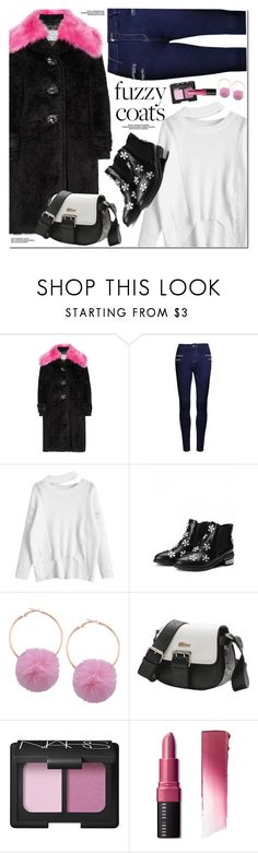 """Fuzzy Coats"" by oshint ❤ liked on Polyvore featuring Prada, NARS Cosmetics and Bobbi Brown Cosmetics"