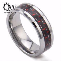 Queenwish 8mm White Tungsten Ring Black & Red Carbon Fiber Inlay Silver Men Wedding Ring
