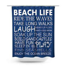 Beach Shower Curtain Beach House Decor Beach Life Decor