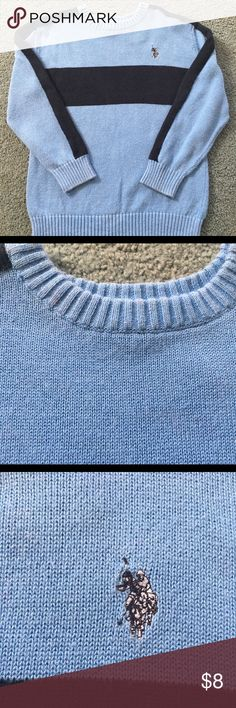 US Polo Association Sweater Blue stripped sweater in great condition aside from a couple small red spots as pictured in second photo U.S. Polo Assn. Shirts & Tops Sweaters