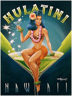 Hulatini Hawaii hula girl martini glass mod by Buzzbeedesigns Beach Illustration, Woman Illustration, Vintage Tiki, Vintage Hawaiian, Art Deco Posters, Cool Posters, Tiki Art, Tiki Tiki, Hawaiian Woman