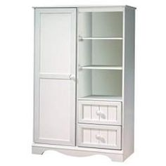 South Shore Savannah Collection Door Chest, Pure White - This Savannah Armoire in Pure White stands out with its decorative kick plate, stylish molding and embellished wooden handles for a country style. Baby Armoire, Tall Cabinet Storage, Locker Storage, Bathroom Storage, Nursery Closet Organization, Kids Room Furniture, Furniture Deals, Bedroom Furniture, White Chests