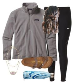 """OOTD-feels like spring"" by prep-lover1 ❤ liked on Polyvore featuring NIKE, Patagonia, Birkenstock, Kendra Scott and S'well"