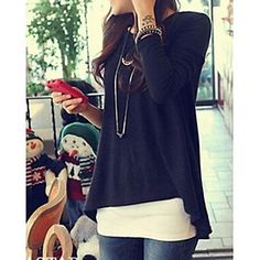 Women's Casual Asym Long Sleeve Loose Blouse - CLP $ 9.522