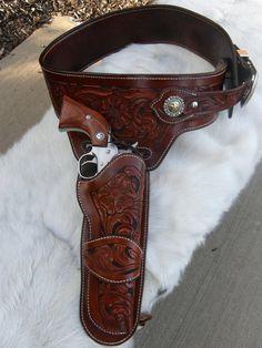 Items similar to Custom Hand Tooled Leather Buscadero Gun Belt/ Leather Holster on Etsy Cowboy Holsters, Western Holsters, Leather Tooling, Tooled Leather, Leather Art, Custom Leather Holsters, Revolvers, Handgun, Firearms