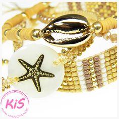 Zestaw 4 bransoletek: - bransoletka makramowa z łącznikiem z masy perłowej - bransoletka tkana na krośnie z koralików - bransoletka z koralików 'KATSUKI' z muszlą - bransoletka z fasetowanych kryształków Kolorystyka: złoty, biały, piaskowy, musztardowy, brązowy  Pasuje na nadgarstek o obwodzie od 15,5 do 17,5 cm #bracelets #loombracelets #katsukibeads Beaded Bracelets, Ocean, Jewelry, Jewlery, Jewerly, Pearl Bracelets, Schmuck, The Ocean, Jewels