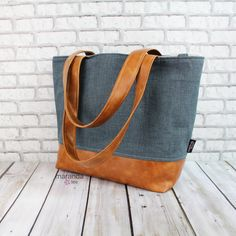 Lulu Large Tote Blue Denim and PU Leather-READY to SHIP Diaper Work Travel Nappy Bag by marandalee on Etsy