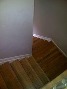 New finish, sand, stain steps in Cincinnati, Ohio by Home Based Carpet & Flooring. HOME BASED CARPET & FLOORING