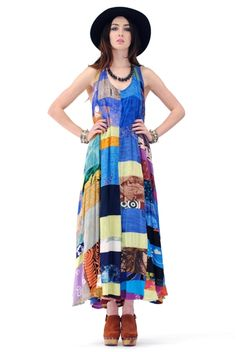 Patchwork Dress. I would like this made out of my brewery t-shirts with short sleeves and all the way to my ankles. Anybody want to sew one for me :)