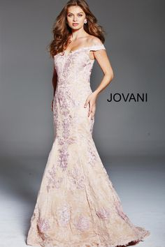 1a3f3a94cdd Check out the deal on Jovani 54418 Off Shoulder Lace Mermaid Dress at French  Novelty Lace