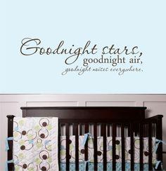 Goodnight Stars Decal - Baby Nursery Decal. $28.00, via Etsy - for Jr's nursery, part duex.
