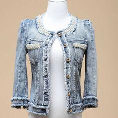 Jeans Kingdom >>Denim outerwear Female Spring Autumn Short Design Pearl Beading Diamond denim Coat  Europe Style $34.00 - 37.60