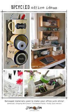 Upcycled office storage ideas used to make your office junk shine! via FunkyJunkInteriors.net