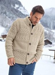 Ravelry: 286 Gilet Col montant - High-neck Cardigan pattern by Bergère de France/мужчинам / Mens Knitted Cardigan, Crochet Cardigan Pattern, Sweater Knitting Patterns, Baby Knitting, Men Sweater, Men Cardigan, Crochet Men, Mens Jumpers, Knitwear