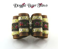 Full Size Bronze and Embroidered Floral Band Show Dog Bow by Doggie Bow Ties.