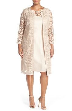 Adrianna Papell Shimmer Sheath Dress with Lace Yoke & Topper available at #Nordstrom