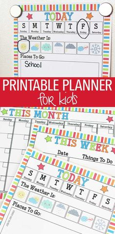 Help little kids learn about days of the week, weather, and more with this colorful planner! Makes a great visual schedule for little kids and helps them to navigate their routine with confidence. Perfect for preschoolers at home or in the classroom! Makes a great chore chart too. Kids Planner   Morning Routine   Visual Schedule for Kids   Preschool Calendar   Kids Printables