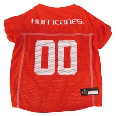 FREE Shipping! Dress your dog in this officially licensed Miami Hurricanes Dog Jersey in the team colors and logo. This jersey is constructed of breathable cotton with micro-mesh sides and v-neck cut