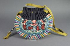 SUPERB & RARE ANTIQUE 19C CHINESE QING SILK EMBROIDERED SCENT POUCH PURSE
