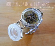 """Today, let's make a """"dry mask"""". This mask contains oatmeal, lavender buds, chamomile leaves, and french green clay. Your loved one receiving this mask will simply add a liquid t…"""