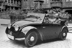 Ferry Porsche at the wheel of the Volkswagen / KdF Wagen prototype (V2) in Tübingen, 1936
