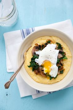 Polenta with Mushrooms, Kale, Caramelized Onion and Poached Egg – Annie's Eats