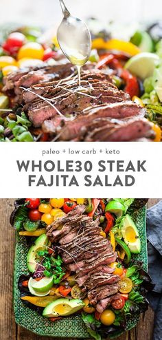 Fajita Salad with Steak Low Carb Keto This fajita salad is loaded with tender steak veggies and a quick and flavorful dressing low carb and keto it s a healthy Mexican dinner recipe that you can throw together in about half an hour steak salad Paleo Recipes, Healthy Dinner Recipes, Whole Food Recipes, Cooking Recipes, Healthy Mexican Recipes, Healthy Steak Recipes, Breakfast Recipes, Dessert Recipes, Cooking Pasta
