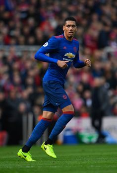 Chris Smalling of Manchester United in action during the Premier League match between Middlesbrough and Manchester United at Riverside Stadium on March 19, 2017 in Middlesbrough, England.