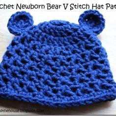 Crochet Newborn Bear V Stitch Hat Pattern