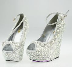 Wedding Wedges $168.30 These are beautiful and would be much easier to walk and dance in all night!