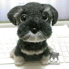 """206 kedvelés, 24 hozzászólás – lemo (@lemowan) Instagram-hozzászólása: """"シュナウザー完成( ´∀` )b #amigurumi #crochet #dog #handmade #knit #wool #schnauzer #あみぐるみ  #いぬ  #シュナウザー"""""""