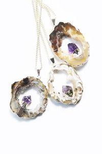 £42 ORCHID Amethyst & Geode Pendant