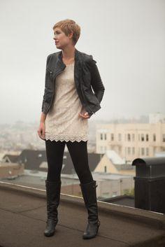 Crochet Tunic and Zara Leather Jacket