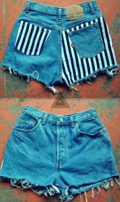 DIY Denim & Stripe Shorts inspiration.                                                                                                                                                      More