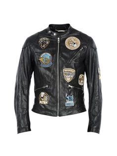 Black Musical Patches Biker Jacket from Dolce&Gabbana  Long sleeves Front zip fastening Front zipped pockets and oblique zipped pocket…