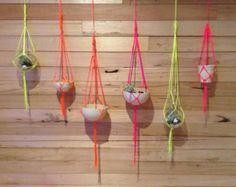 Set of 6 Mini Neon Macrame Hangers