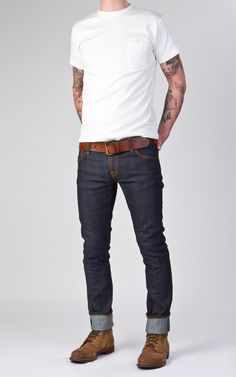Nudie Jeans Tight Long John Dry Selvage Comfort Don't discount the Red Wing Iron Ranger boots. Mode Cool, Casual Outfits, Men Casual, Casual Menswear, Look Man, Nudie Jeans, Jeans Fit, Mens Cuffed Jeans, Boots And Jeans Men