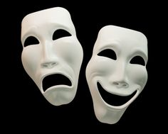 """ancient greek comedy and tragedy masks.  Thespis is considered to be the first Greek """"actor"""" and originator of tragedy.  Comedy plays were derived from imitation.  I feel like this is what comes to mind when the word theatre is said."""