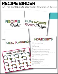 Get your kitchen organized! Make a family binder with free printables from www.thirtyhandmadedays.comfree
