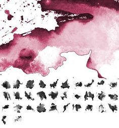 Free watercolor Photoshop brush sets for creating watercolor-styled designs. Delicate flowers, strokes, retro splashes, and many more watercolor brushes. Effects Photoshop, Adobe Photoshop, Photoshop Illustrator, Photoshop Tutorial, Photoshop Actions, Watercolor Splatter, Watercolor Brushes, Watercolor Design, Watercolor Paper