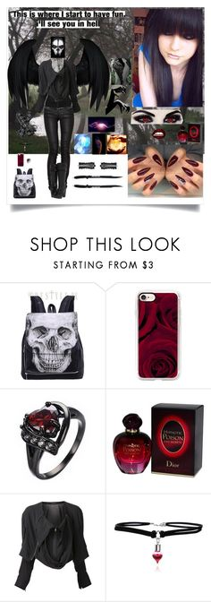"""Angel of Death"" by cassiegrimes ❤ liked on Polyvore featuring Casetify, Christian Dior, Dickies, Yohji Yamamoto, Harley-Davidson and Lara"