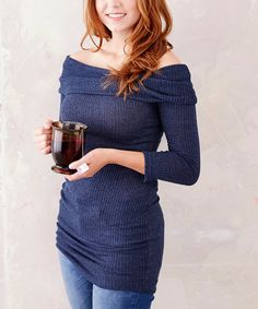 Another great find on #zulily! Casa Lee Navy Off-Shoulder Tunic by Casa Lee #zulilyfinds