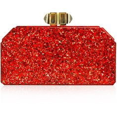 Judith Leiber Couture Faceted Rectangle Clutch Bag (5.730 RON) ❤ liked on Polyvore featuring bags, handbags, clutches, red, accessories, hand bags, evening purses clutches, special occasion clutches, red evening purse and evening purses