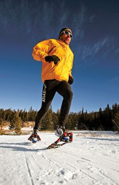 Running in snowshoes along a snow-covered path surrounds you with winter's magic.