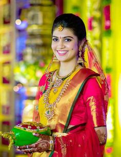 Simple and Elegant South Indian Bride - South Indian bride on budget - Rich Taste - Simple and Elegant South Indian Bride - South Indian bride on budget Simple and Elegant South Indian Bride - South Indian bride on budget - Indian Bridal Sarees, Indian Beauty Saree, Bridal Looks, Bridal Style, Indiana, Telugu Brides, Bride Portrait, South Indian Bride, Saree Wedding