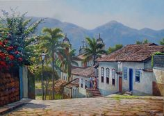 """""""Tiradentes"""" de Wilson Vicente Cottage Art, Where The Heart Is, Latin America, Love Art, Old Houses, Landscape Paintings, Countryside, Watercolor, House Styles"""