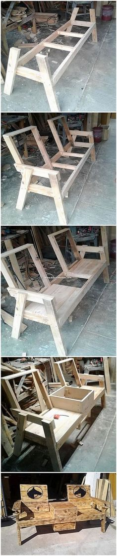 Wondrous Ideas Made with Recycled Wood Pallets Catch up with this interesting design of the chairs or bench that is created so superbly. This chairs or bench with table design is finished with the col Wooden Pallet Projects, Woodworking Projects Diy, Woodworking Bench, Wooden Pallets, Pallet Ideas, Pallet Bar, Wooden Sofa, Pallet Seating, Woodworking Shop