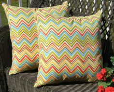 """SET OF 2 - Indoor / Outdoor 17"""" Square Decorative Throw Pillows - Bright Red Green Yellow Blue Zig Zag / Chevron"""